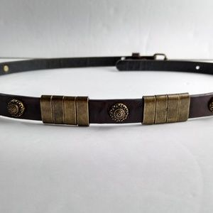 "Target 1/2"" Concho Style Brown Belt M 32"" Brass"